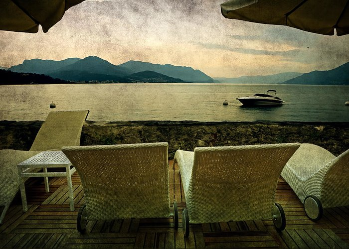 Lake Maggiore Greeting Card featuring the photograph Canvas Chairs by Joana Kruse