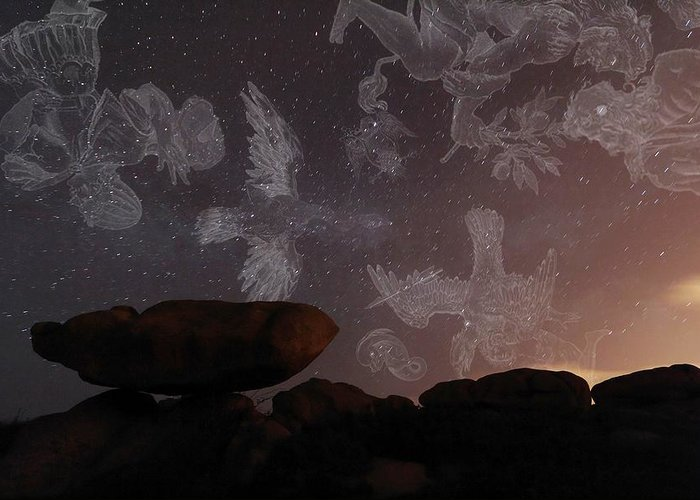 Vega Greeting Card featuring the photograph Constellations In A Night Sky by Laurent Laveder