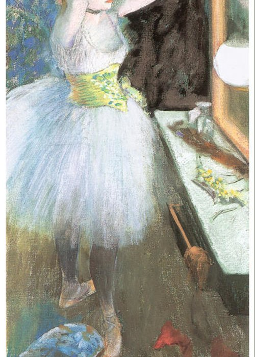 Dancer In Her Dressing Room Greeting Card featuring the painting Dancer In Her Dressing Room by Edgar Degas
