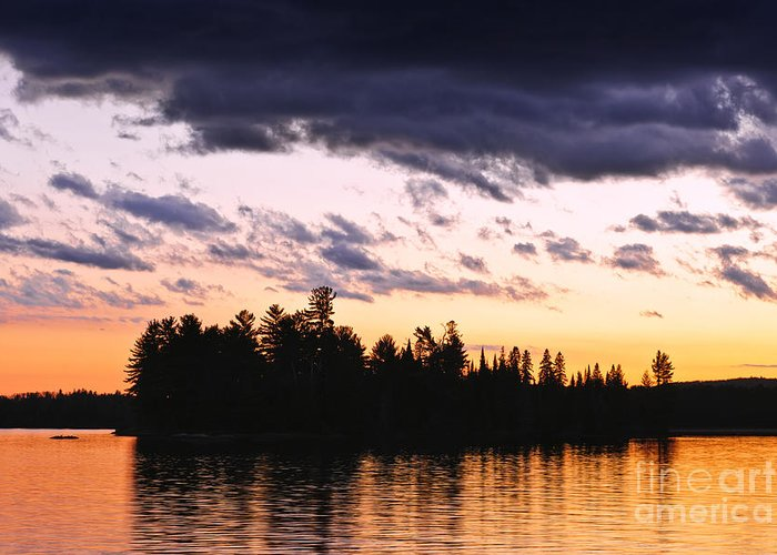 Sunset Greeting Card featuring the photograph Dramatic Sunset At Lake by Elena Elisseeva