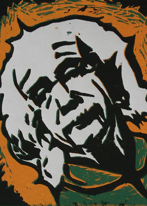 Lino Greeting Card featuring the drawing Einstein 2 by William Cauthern