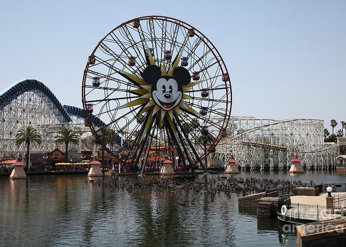 Disney Greeting Card featuring the photograph Ferris Wheel And Roller Coaster - Paradise Pier - Disney California Adventure - Anaheim California - by Wingsdomain Art and Photography