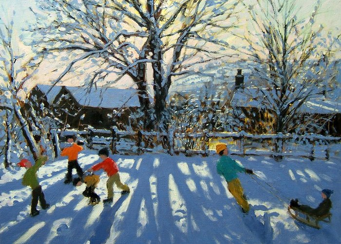 Sledge Greeting Card featuring the painting Fun In The Snow by Andrew Macara