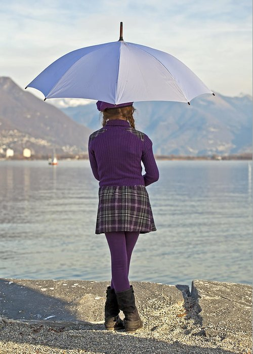 Girls Greeting Card featuring the photograph Girl With Umbrella by Joana Kruse