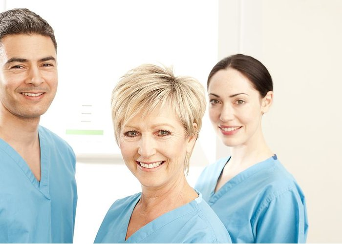 Studio Shot Greeting Card featuring the photograph Hospital Staff by