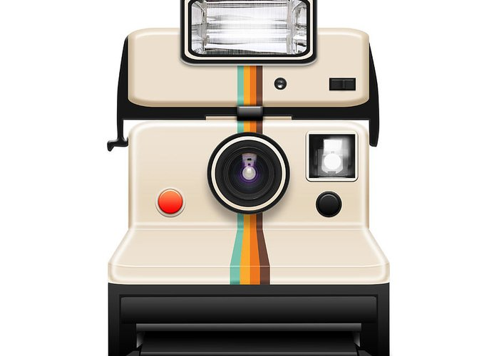 Analog Greeting Card featuring the photograph Instant Camera With A Blank Photo by Setsiri Silapasuwanchai