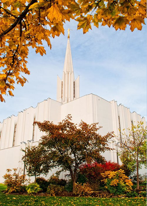 Religious Greeting Card featuring the photograph Jordan River Temple by La Rae Roberts