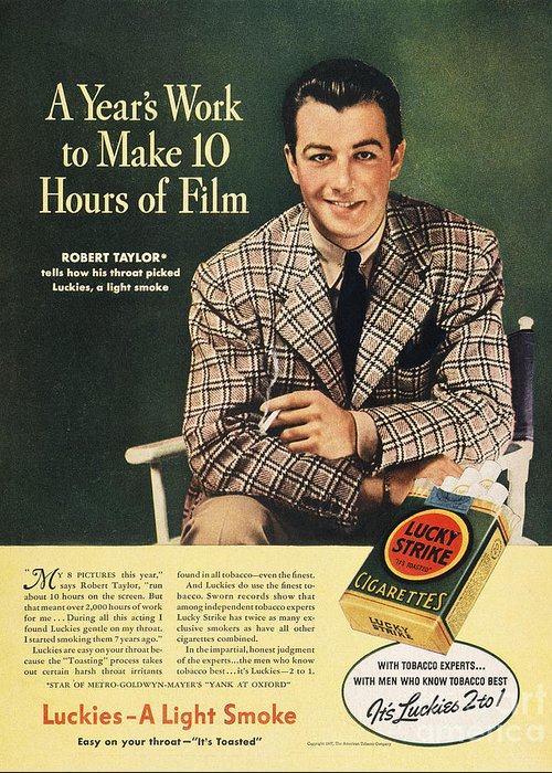 1937 Greeting Card featuring the photograph Lucky Strike Cigarette Ad by Granger