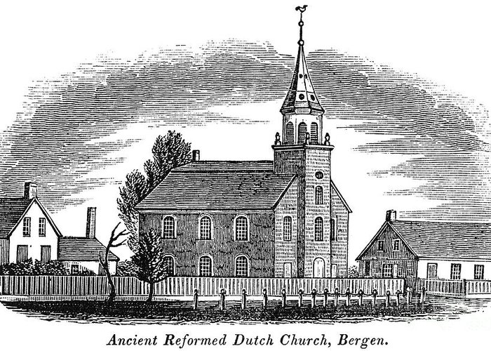 1844 Greeting Card featuring the photograph New Jersey: Church, 1844 by Granger