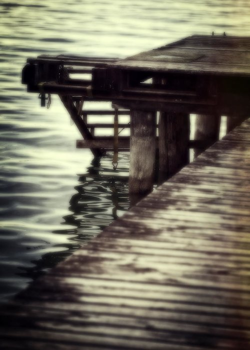 Bridge Greeting Card featuring the photograph Old Wooden Pier With Stairs Into The Lake by Joana Kruse