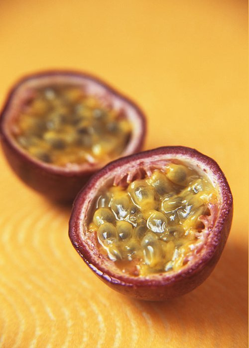 Passiflora Edulis Greeting Card featuring the photograph Passion Fruit Halves by Veronique Leplat