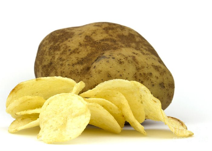 Potato Greeting Card featuring the photograph Potato Chips by Blink Images