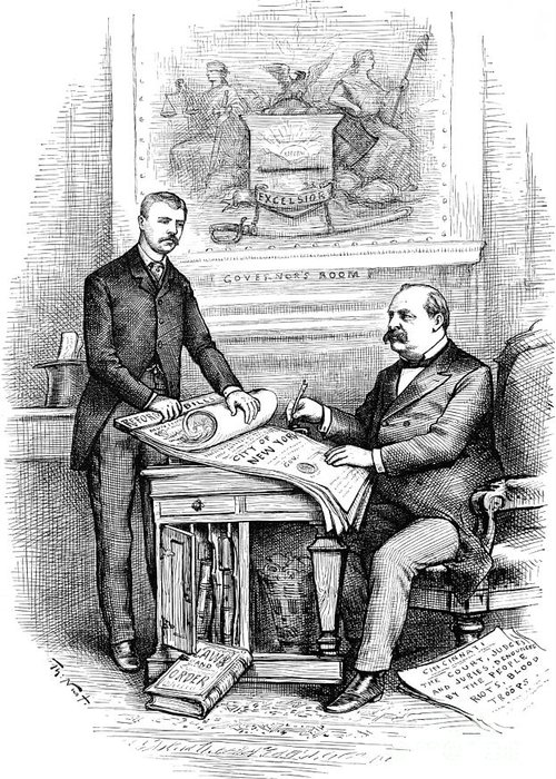 1884 Greeting Card featuring the photograph Roosevelt Cartoon, 1884 by Granger