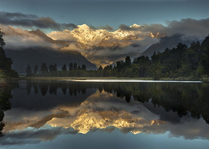 00462451 Greeting Card featuring the photograph Sunset Reflection Of Lake Matheson by Colin Monteath