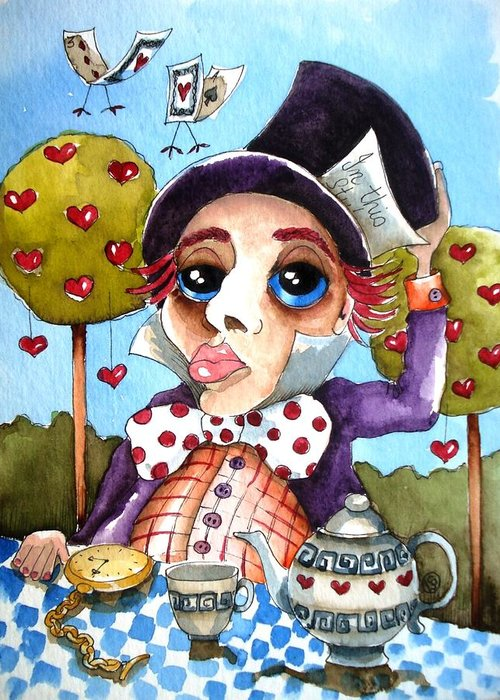 Alice Greeting Card featuring the painting The Mad Hatter by Lucia Stewart