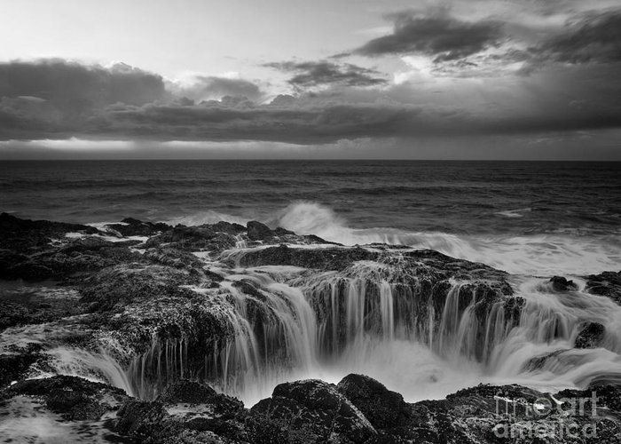 Black And White Photography Greeting Card featuring the photograph Thor's Well by Keith Kapple