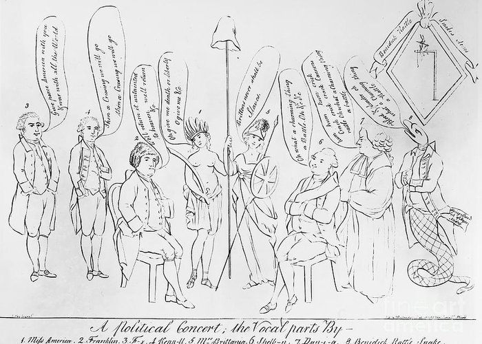 1783 Greeting Card featuring the photograph `treaty Of Paris, 1783 by Granger