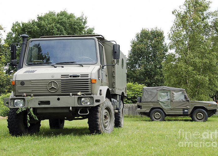 Belgium Greeting Card featuring the photograph Unimog Truck Of The Belgian Army by Luc De Jaeger