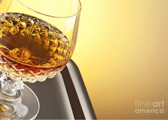 Whiskey Greeting Card featuring the photograph Whiskey In Stem Glass by Blink Images