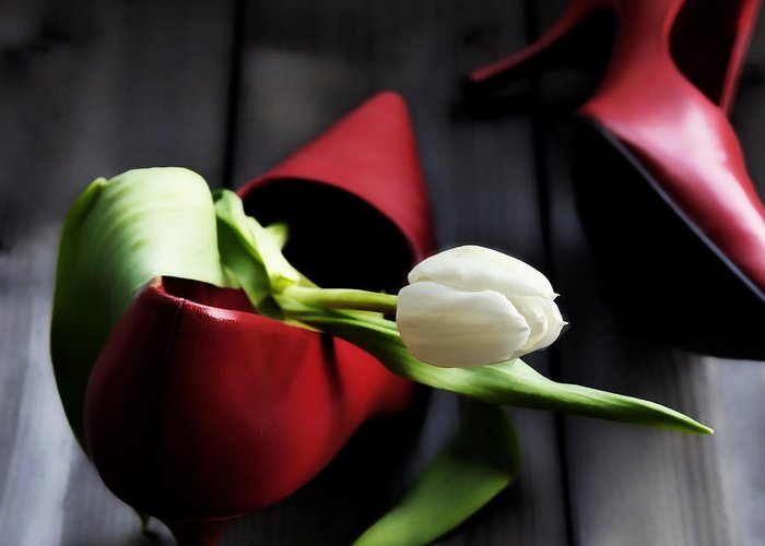Tulip Greeting Card featuring the photograph White And Red by Joana Kruse