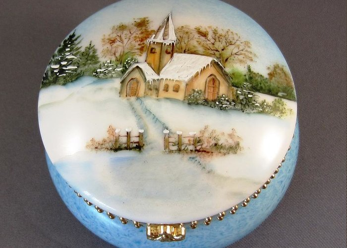 Porcelain Greeting Card featuring the ceramic art 252 Mirror-box With Winter Scene by Wilma Manhardt