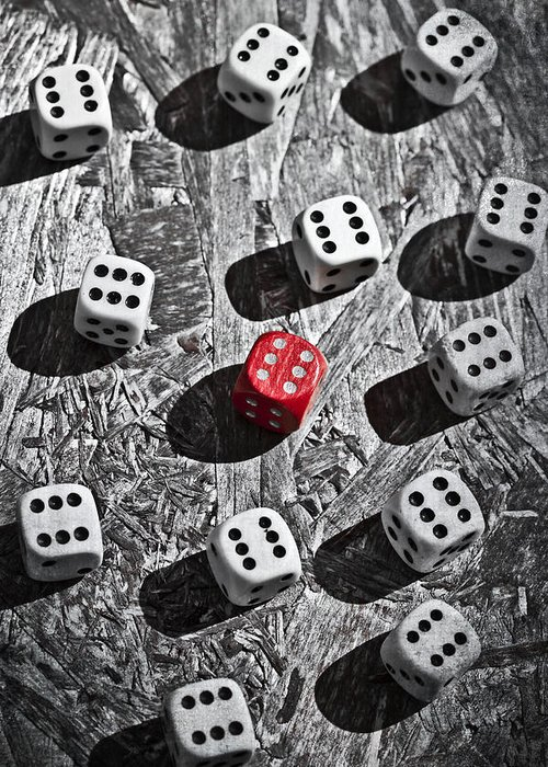 Dice Greeting Card featuring the photograph Dice by Joana Kruse