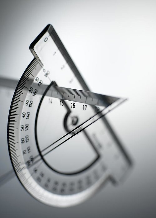Protractor Greeting Card featuring the photograph Geometry Set by Tek Image