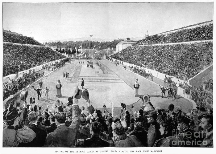 1896 Greeting Card featuring the photograph Olympic Games, 1896 by Granger