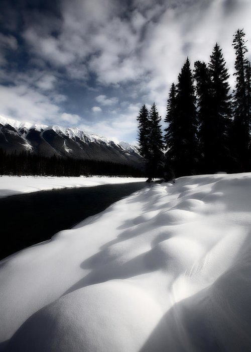 Snow Covered Greeting Card featuring the photograph Open Water In Winter by Mark Duffy
