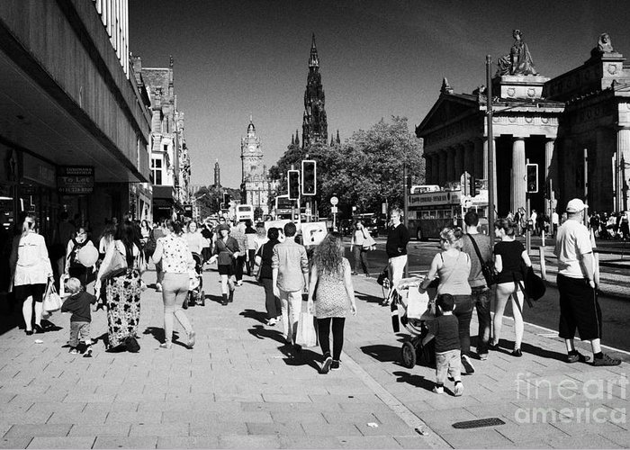 Princes Greeting Card featuring the photograph Shoppers And Tourists On Princes Street Edinburgh Scotland Uk United Kingdom by Joe Fox
