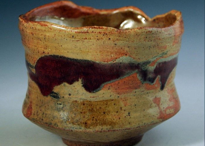 Clay Greeting Card featuring the ceramic art Tea Bowl by Alejandro Sanchez
