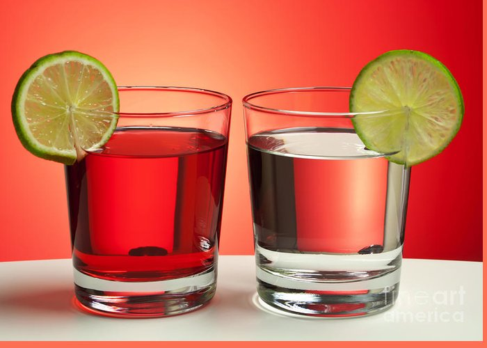 Drink Greeting Card featuring the photograph Two Red Drinks by Blink Images