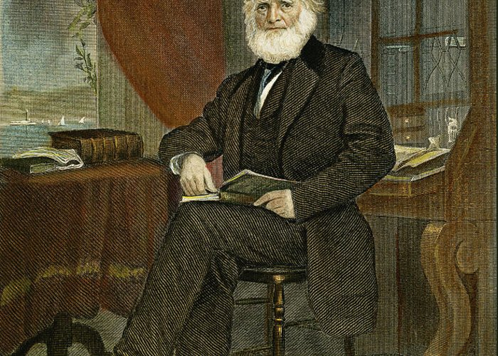 19th Century Greeting Card featuring the photograph William Cullen Bryant by Granger