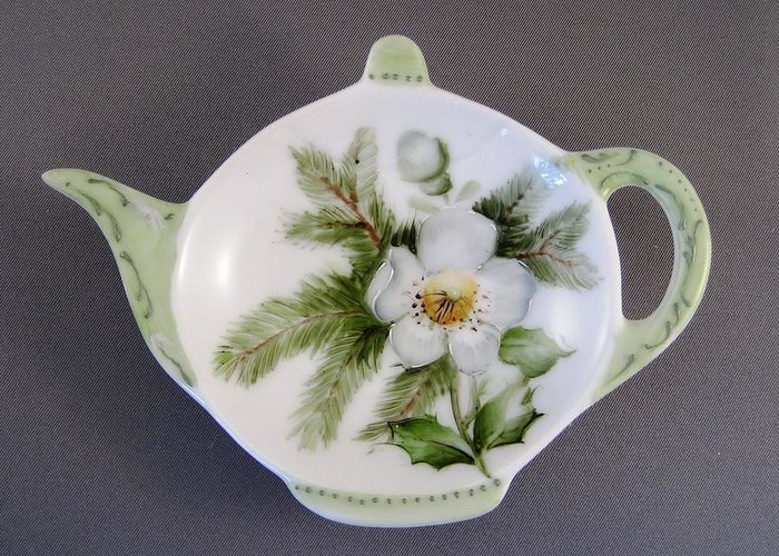 Porcelain Greeting Card featuring the ceramic art 382 Teabag Holder Green by Wilma Manhardt