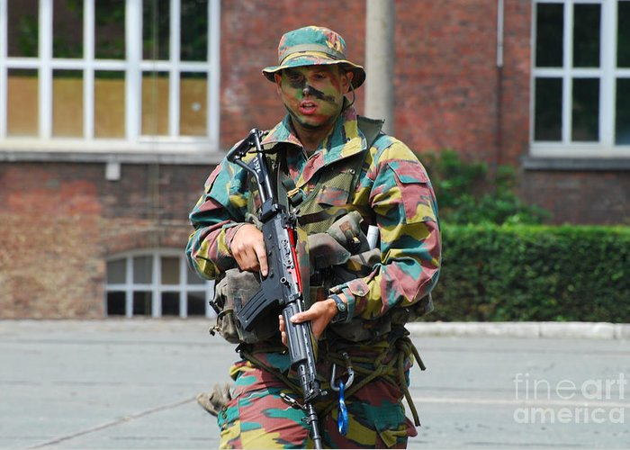 5.56mm Greeting Card featuring the photograph A Paratrooper Of The Belgian Army by Luc De Jaeger