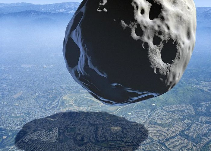 Los Angeles Greeting Card featuring the photograph Asteroid Approaching Earth by Detlev Van Ravenswaay