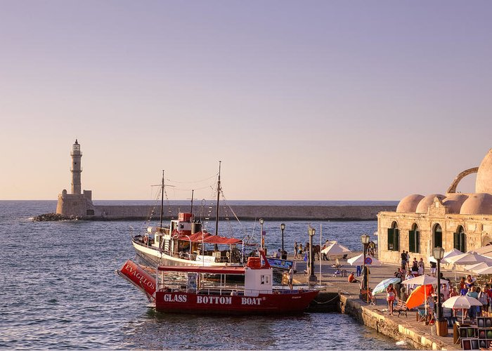 Lighthouse Greeting Card featuring the photograph Chania - Crete by Joana Kruse