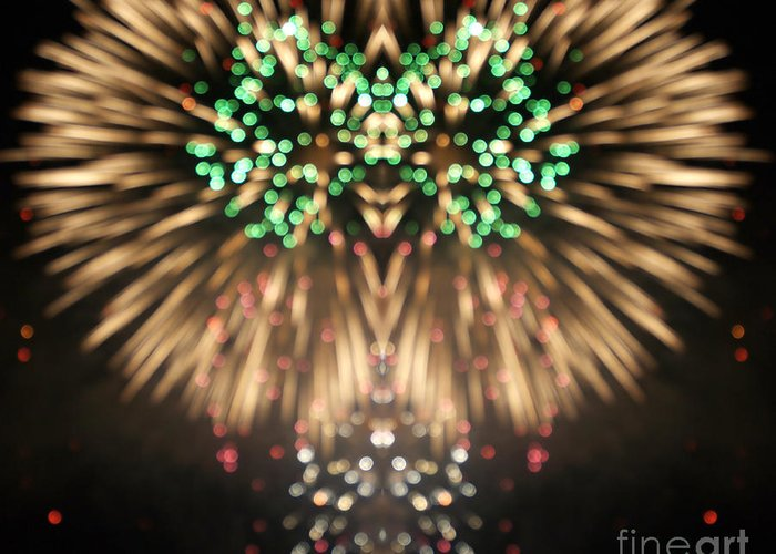 4th Greeting Card featuring the digital art Firework by Odon Czintos