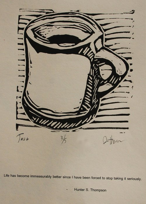 Java Greeting Card featuring the drawing Java by William Cauthern