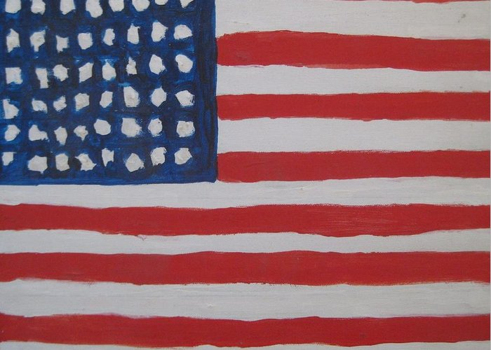 Flag Greeting Card featuring the painting Untitled by Iris Gill
