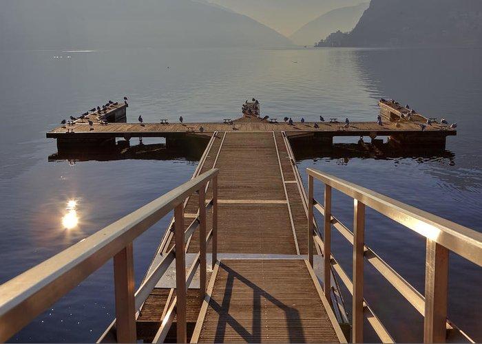 Dock Greeting Card featuring the photograph Lago Di Lugano by Joana Kruse