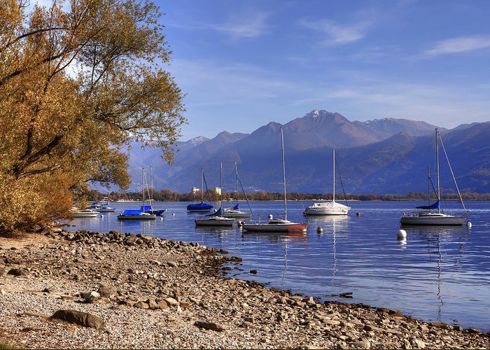 Beach Greeting Card featuring the photograph Lake Maggiore by Joana Kruse