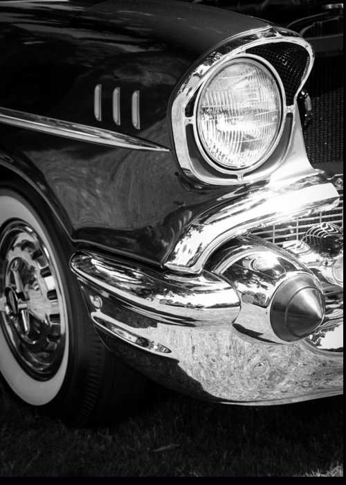 Black And White Greeting Card featuring the photograph 57 Chevy Black by Steve McKinzie
