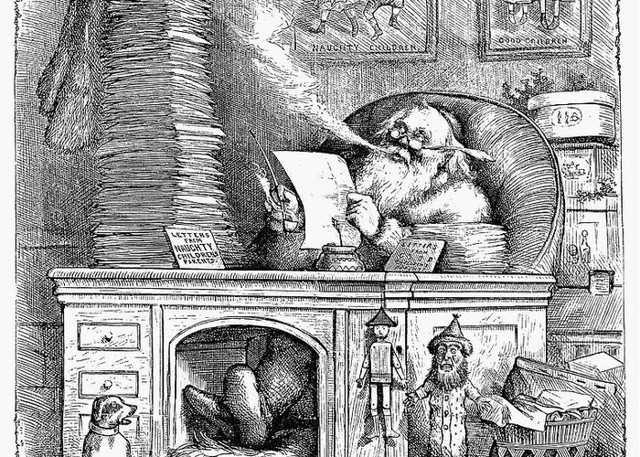 1871 Greeting Card featuring the photograph Thomas Nast: Santa Claus by Granger