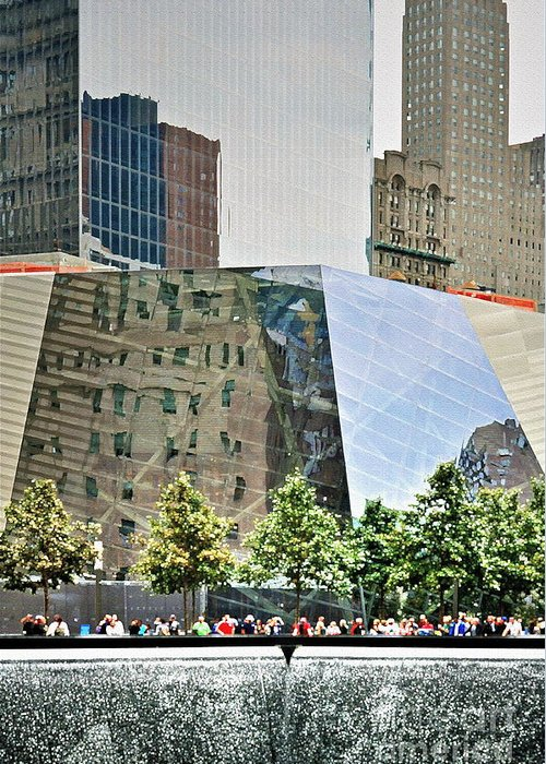 9 Greeting Card featuring the photograph 9/11 Memorial by Gwyn Newcombe