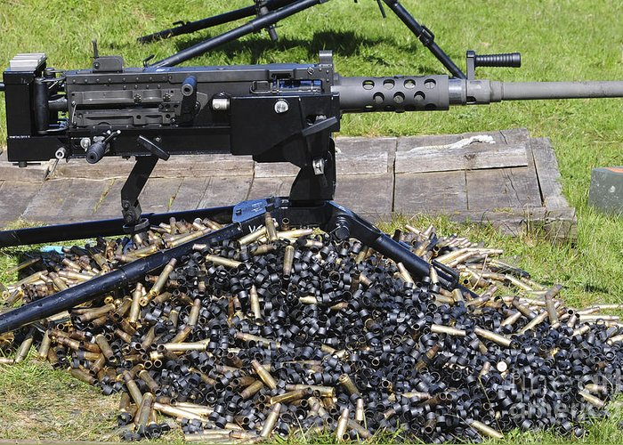Abundance Greeting Card featuring the photograph A .50 Caliber Browning Machine Gun by Andrew Chittock
