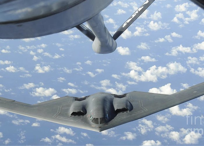 Aerial Refueling Greeting Card featuring the photograph A B-2 Spirit Approaches The Refueling by Stocktrek Images