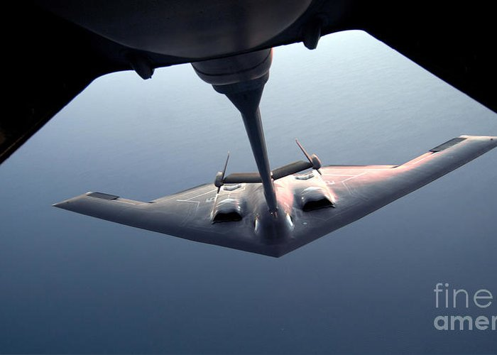 Aerial Greeting Card featuring the photograph A B-2 Spirit Bomber Conducts by Stocktrek Images