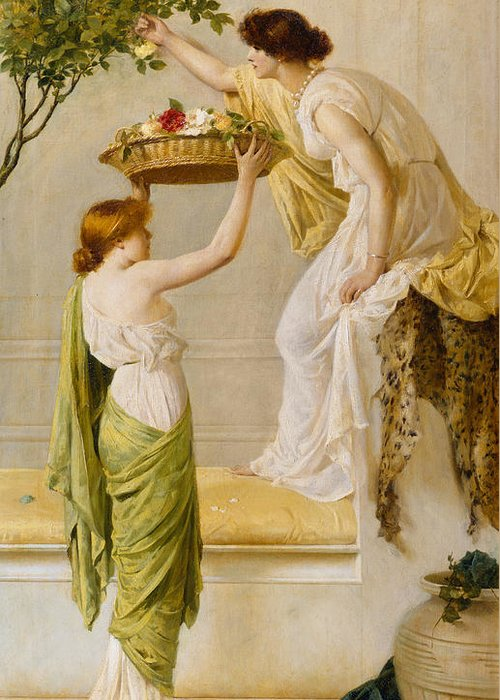 Basket Greeting Card featuring the painting A Basket Of Roses - Grecian Girls by Henry Thomas Schaefer
