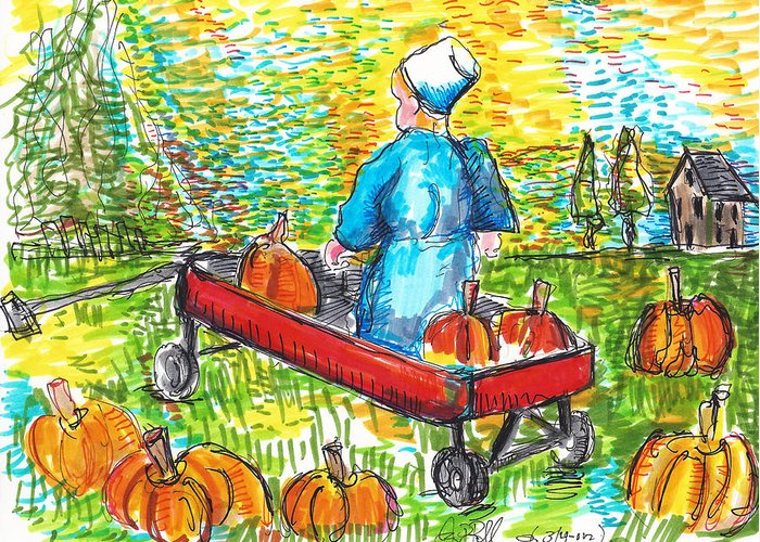 Kids Greeting Card featuring the painting A Child's Joy by Jon Baldwin Art